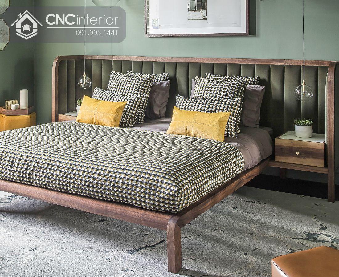 Giường ngủ gỗ sồi mỹ bền chắc CNC 34 2