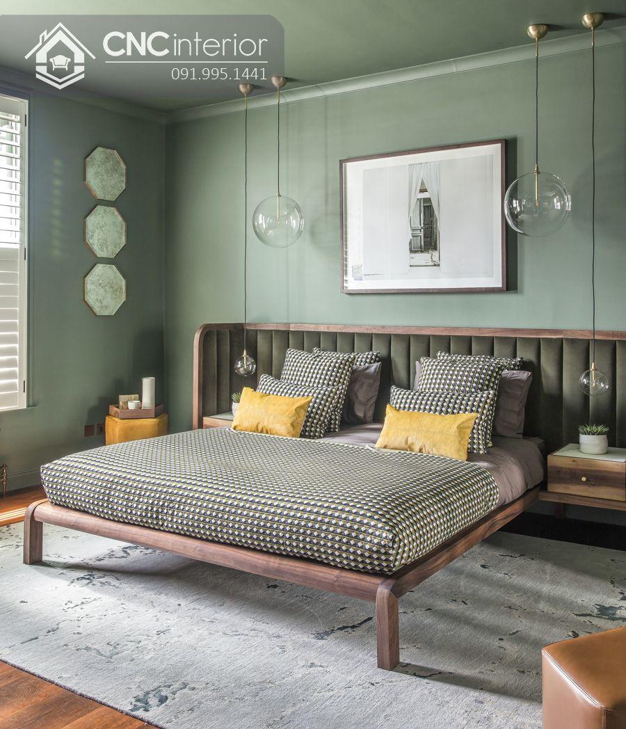 Giường ngủ gỗ sồi mỹ bền chắc CNC 34