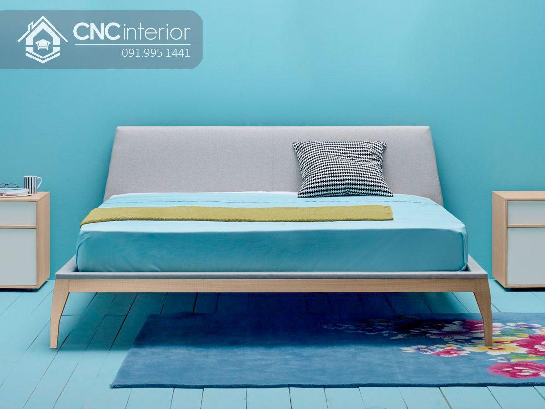 Giường ngủ gỗ công nghiệp bọc nỉ hiện đại CNC 38