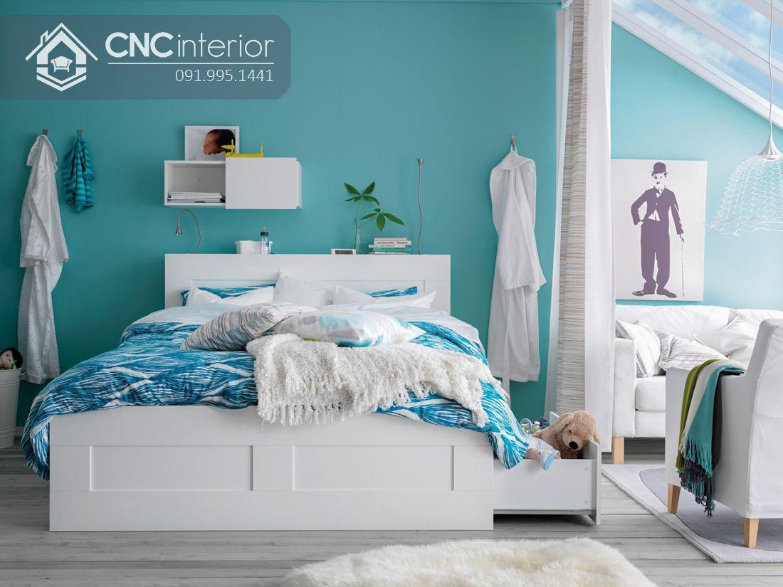 Giường ngủ đẹp màu trắng tích hợp ngăn kéo CNC 48