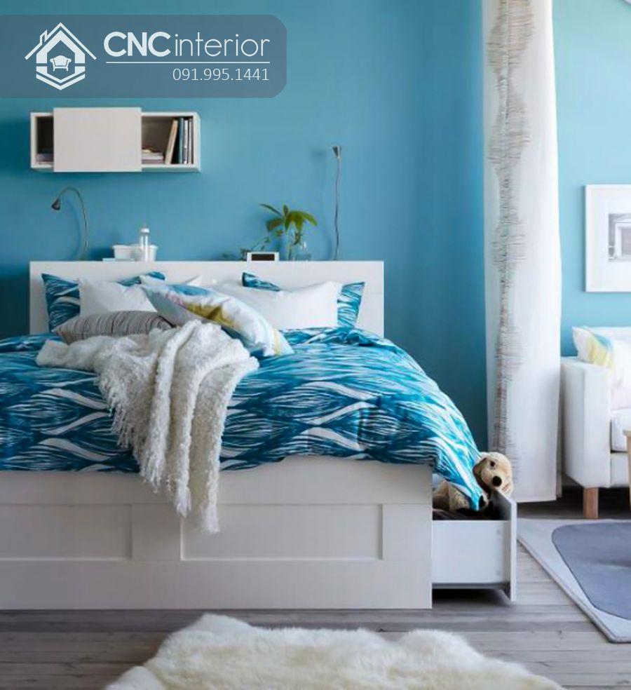 Giường ngủ đẹp màu trắng tích hợp ngăn kéo CNC 48 1