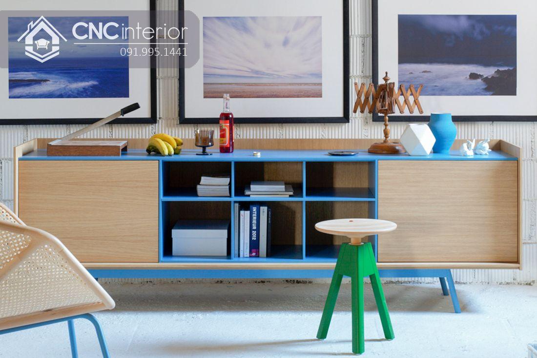 Kệ tivi gỗ sơn màu trẻ trung hiện đại CNC 04
