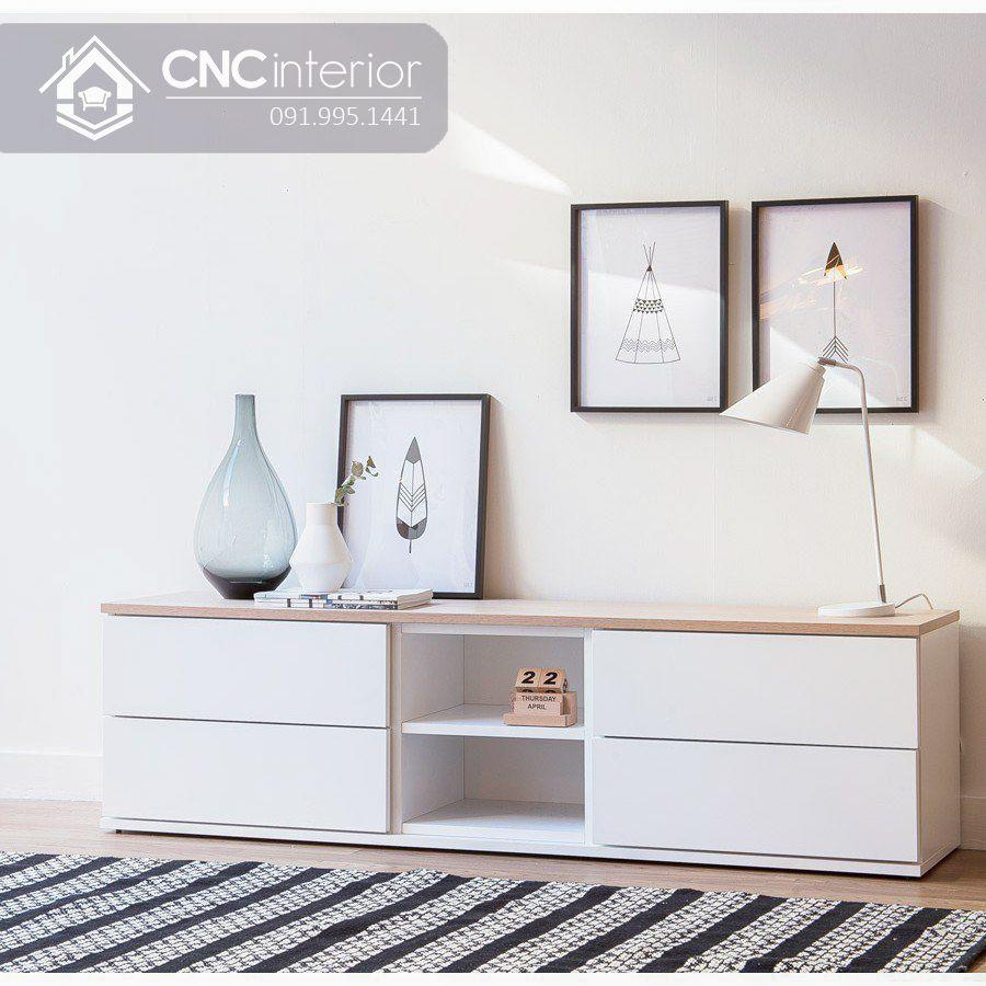 Kệ tivi gỗ sơn màu trắng đơn giản CNC 06 1