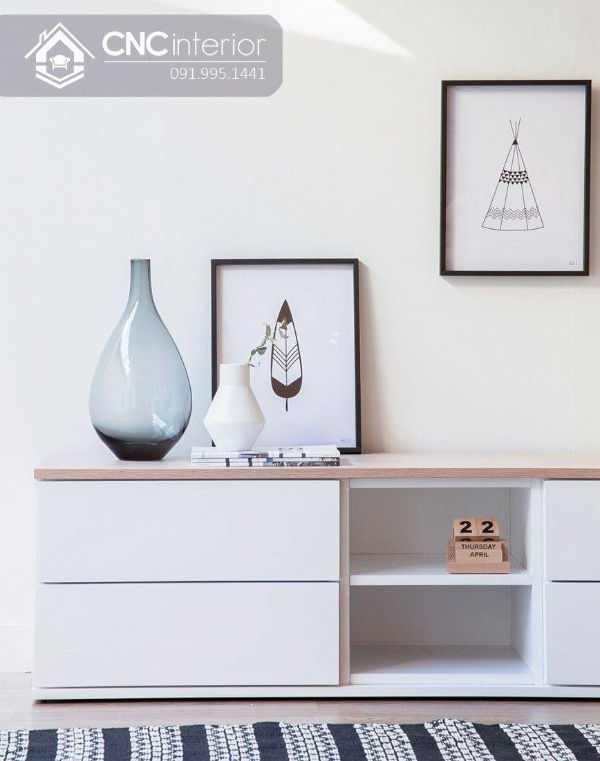 Kệ tivi gỗ sơn màu trắng đơn giản CNC 06