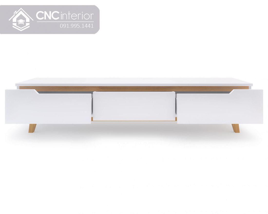 Kệ tivi gỗ sơn màu trắng đẹp tinh tế CNC 09 2