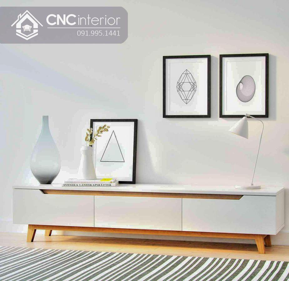Kệ tivi gỗ sơn màu trắng đẹp tinh tế CNC 09