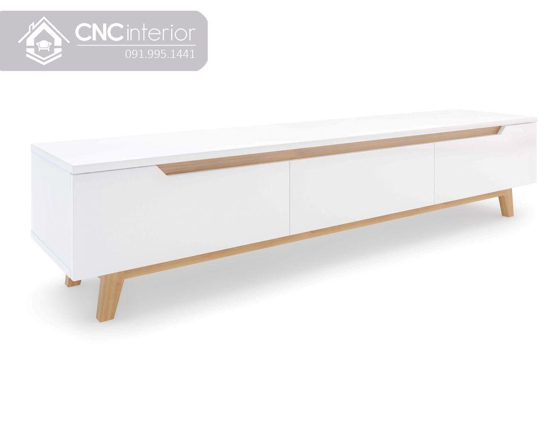 Kệ tivi gỗ sơn màu trắng đẹp tinh tế CNC 09 1