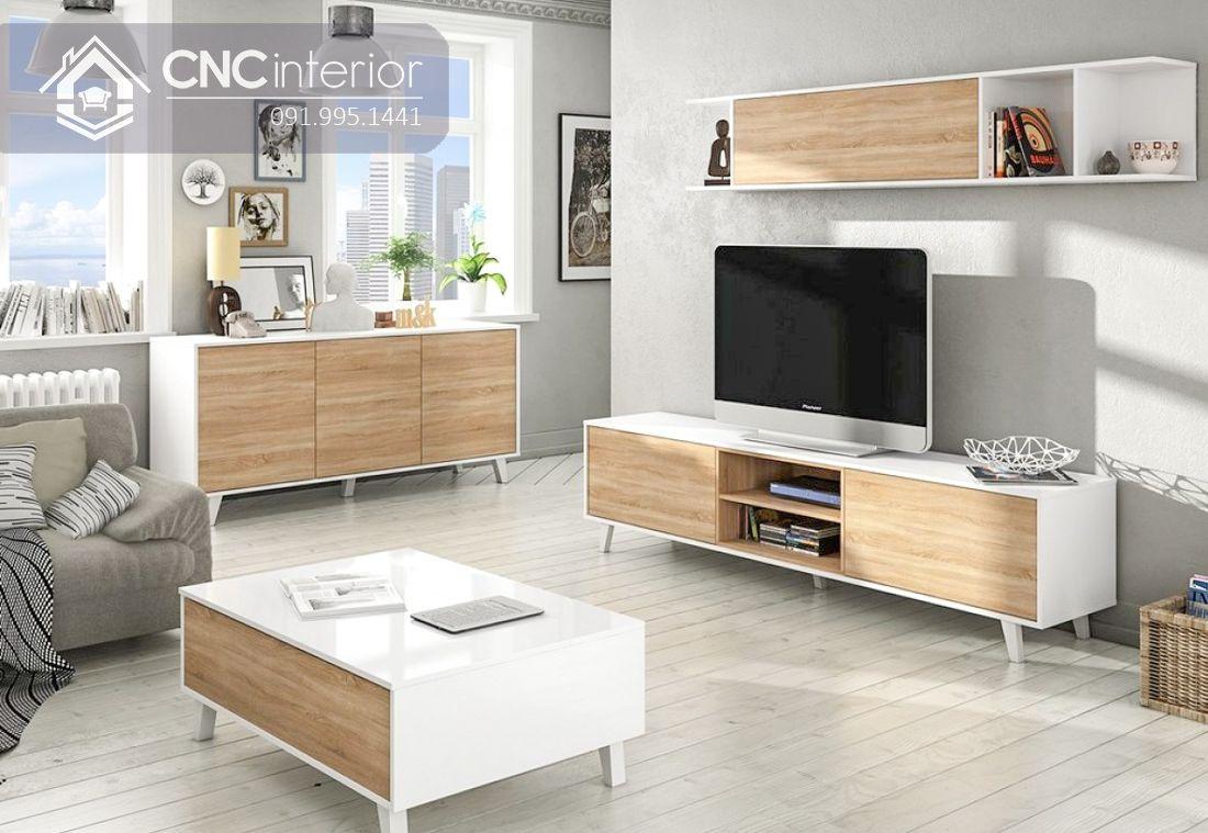 Kệ tivi màu trắng cho phòng khách hiện đại CNC 13