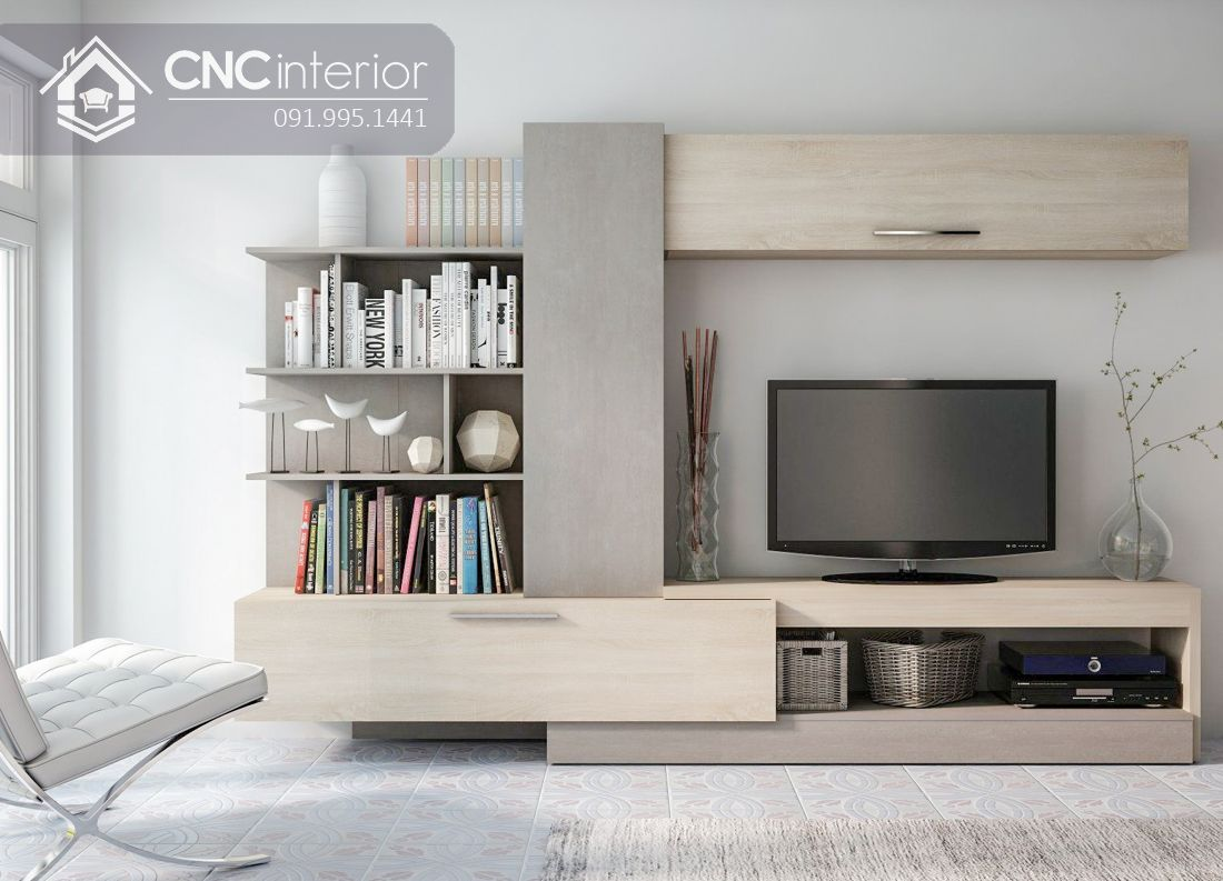 Kệ tivi kết hợp tủ trang trí đẹp ấn tượng CNC 31