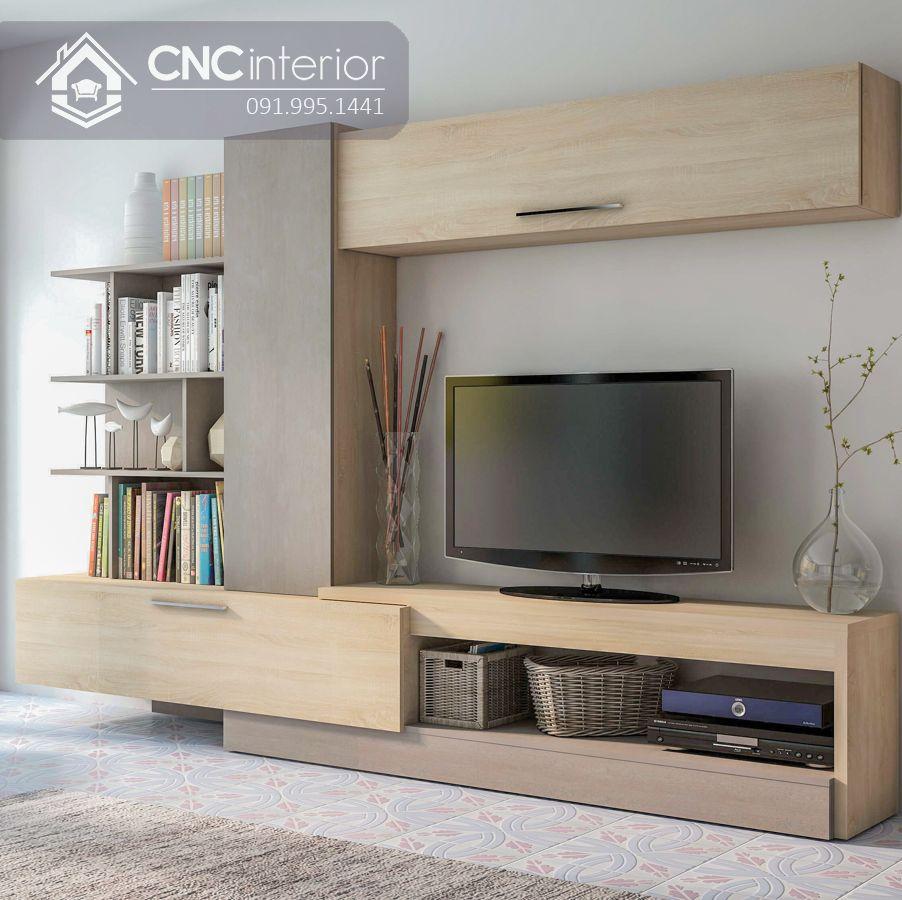Kệ tivi kết hợp tủ trang trí đẹp ấn tượng CNC 31 1
