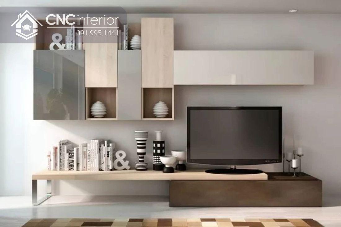 Kệ tivi kết hợp tủ trang trí treo tường hiện đại CNC 45