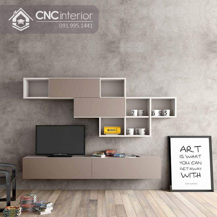Kệ tivi treo tường phòng khách thiết kế độc đáo CNC 47