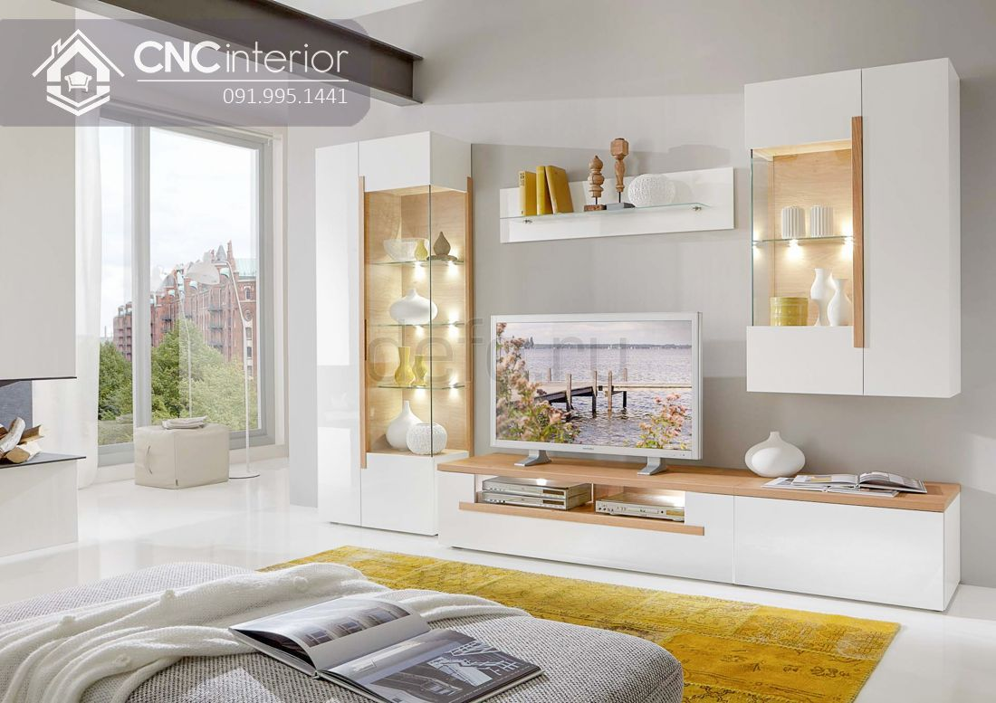 Kệ tivi hiện đại màu trắng tinh tế CNC 48