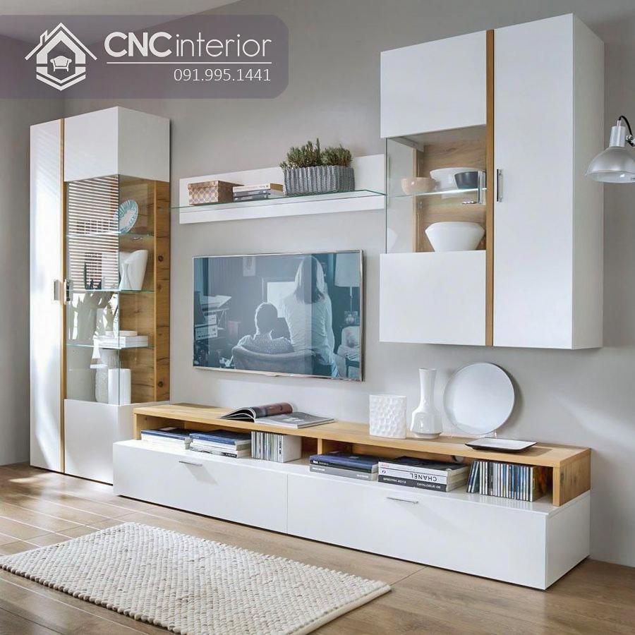Kệ tivi hiện đại màu trắng tinh tế CNC 48 1