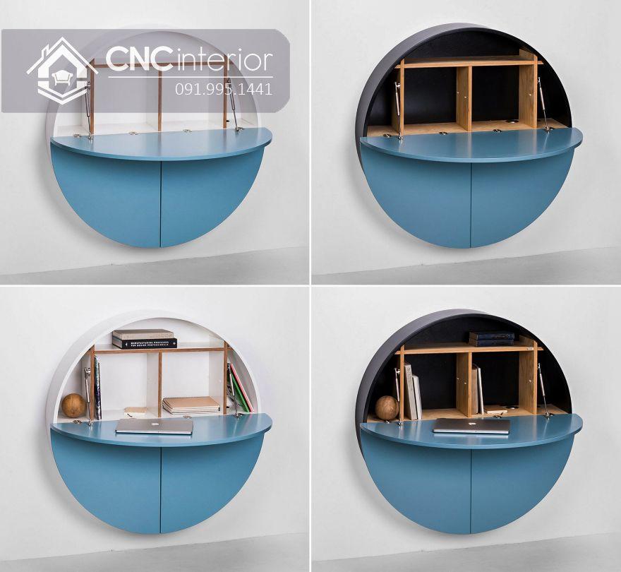 Bàn làm việc treo tường hình tròn độc đáo CNC 03 3