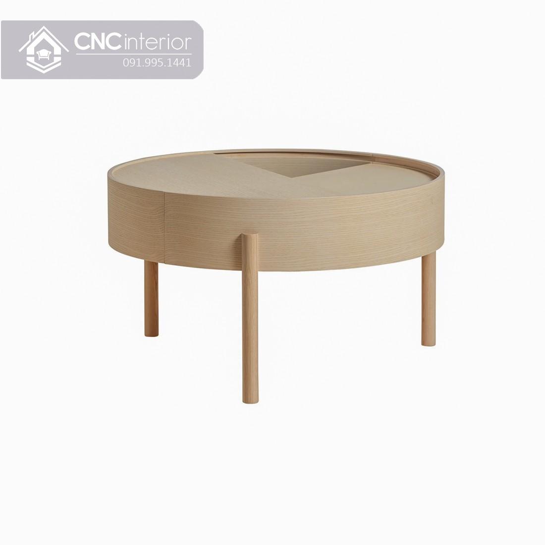 Bàn trà tròn nhỏ gọn bằng gỗ CNC 01