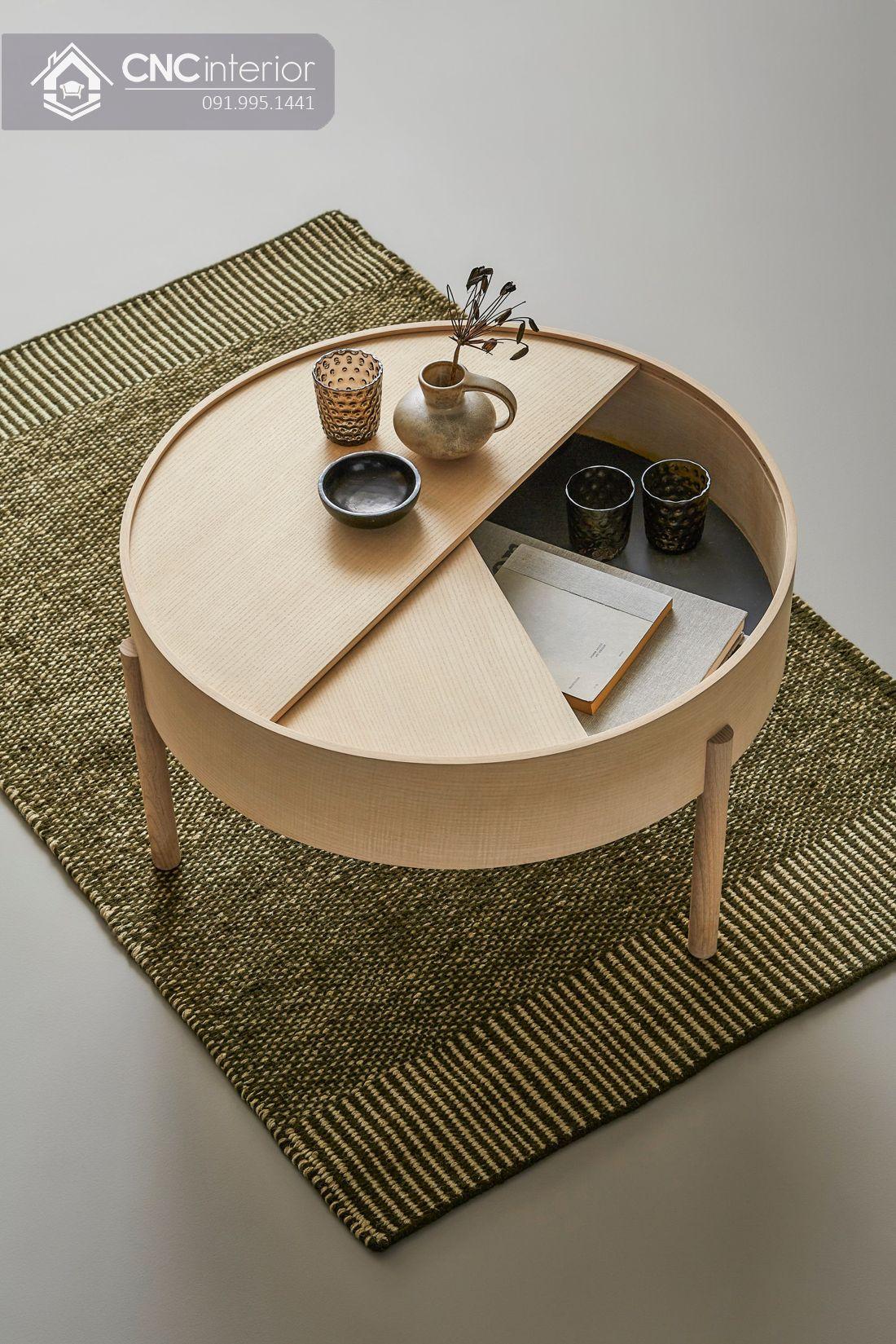 Bàn trà tròn nhỏ gọn bằng gỗ CNC 01 2