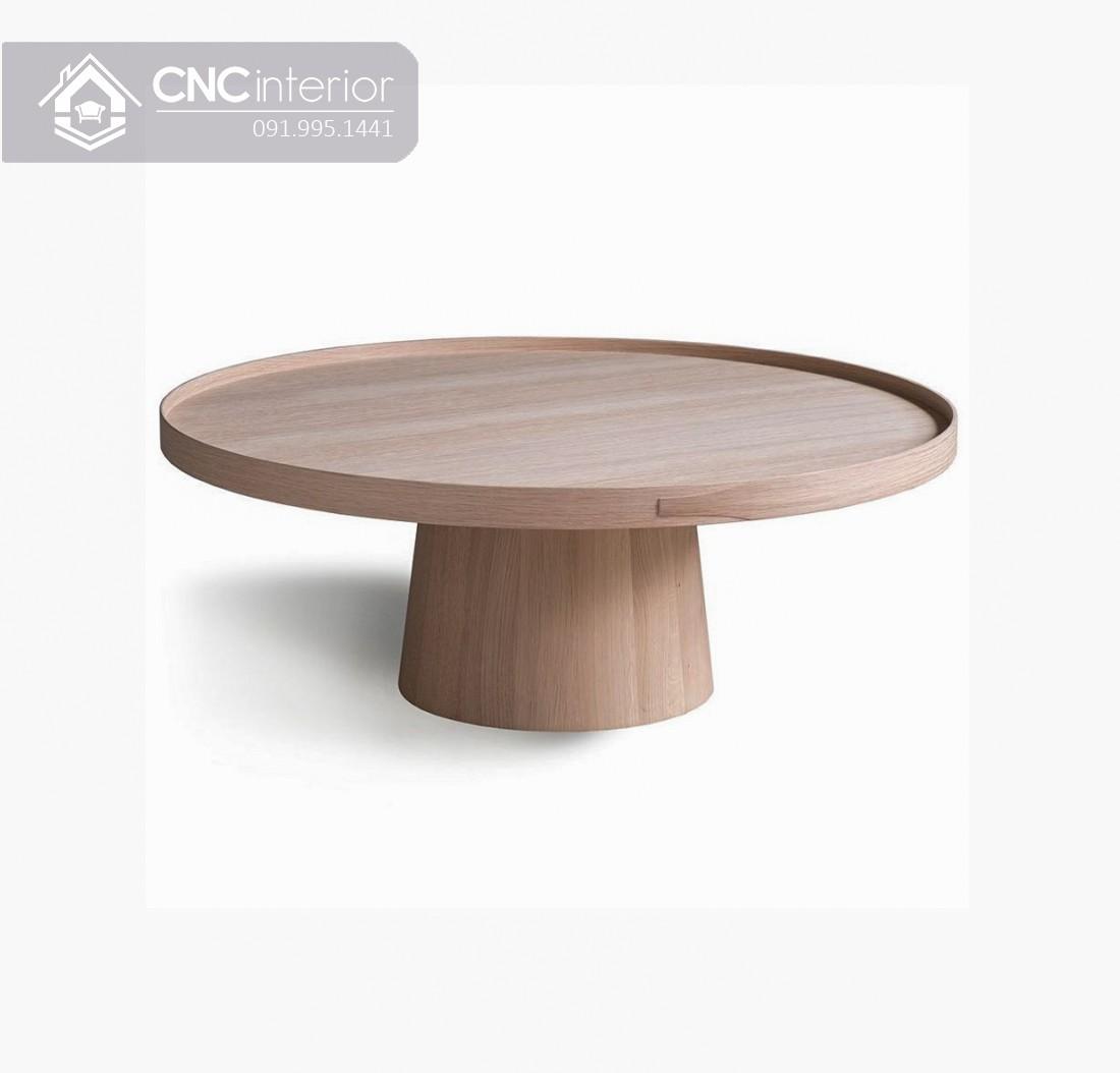 Bàn trà gỗ hình tròn phong cách tối giản CNC 07