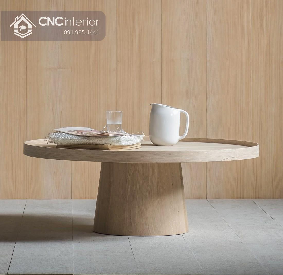 Bàn trà gỗ hình tròn phong cách tối giản CNC 07 1