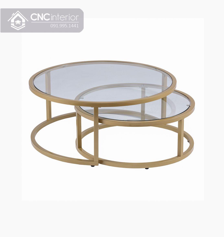 Bàn trà đôi mặt kính sang trọng CNC 23