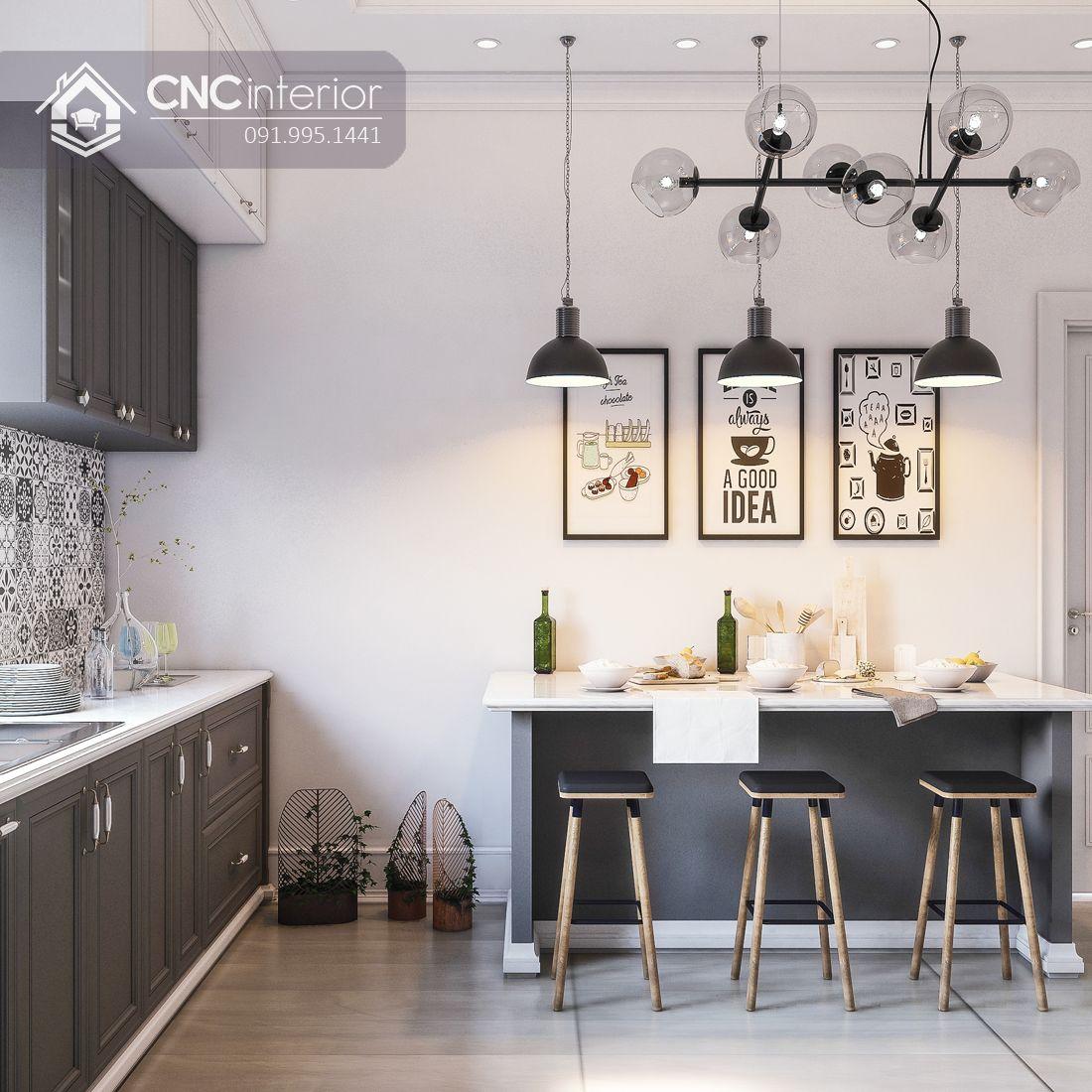 Bếp nhà phố Neoclassic quận 2 chị Hoa