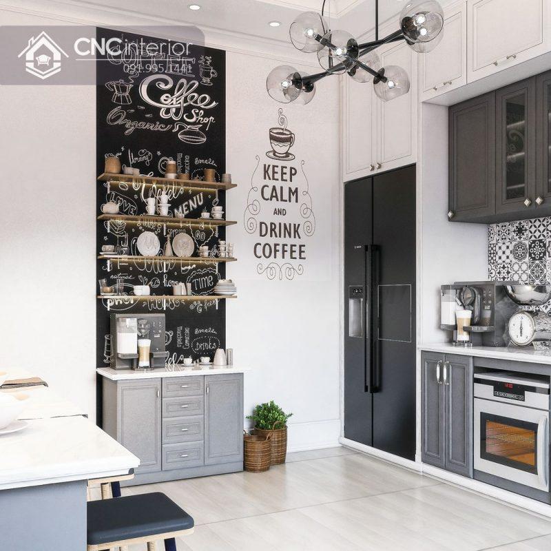 Nội thất CNC - Bếp bán cổ điển - nhà phố chị Hoa quận 2