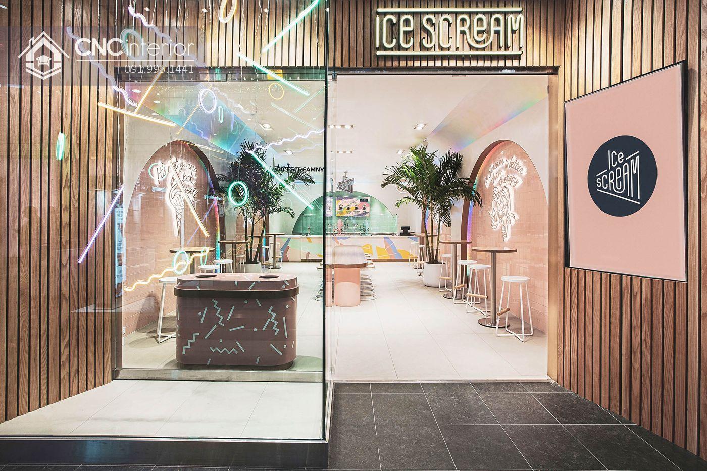 Quán kem Ice Dream phong cách Neo-Memphis