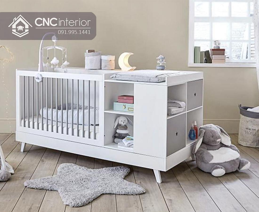 Giường cũi trẻ em 2 trong 1 có tủ kệ CNC 34 1
