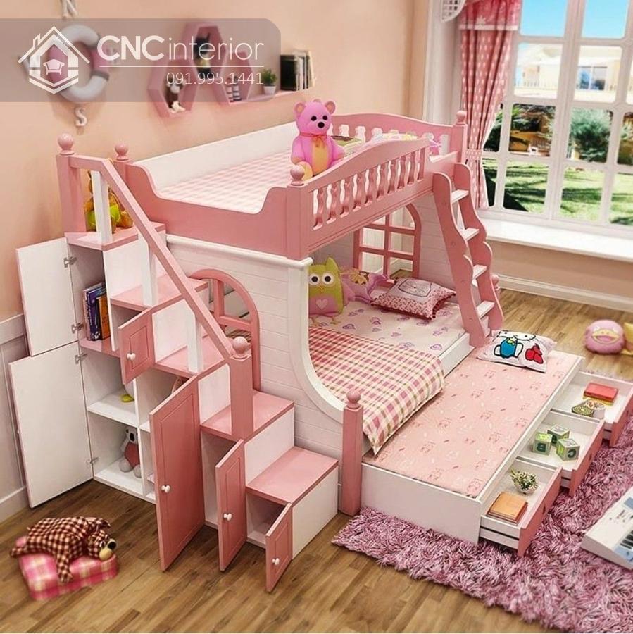 Giường tầng công chúa màu hồng CNC 13 1