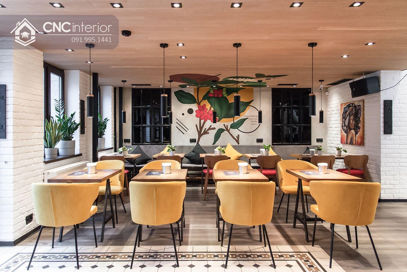 Phối màu khéo léo cho thiết kế nội thất quán cà phê 4