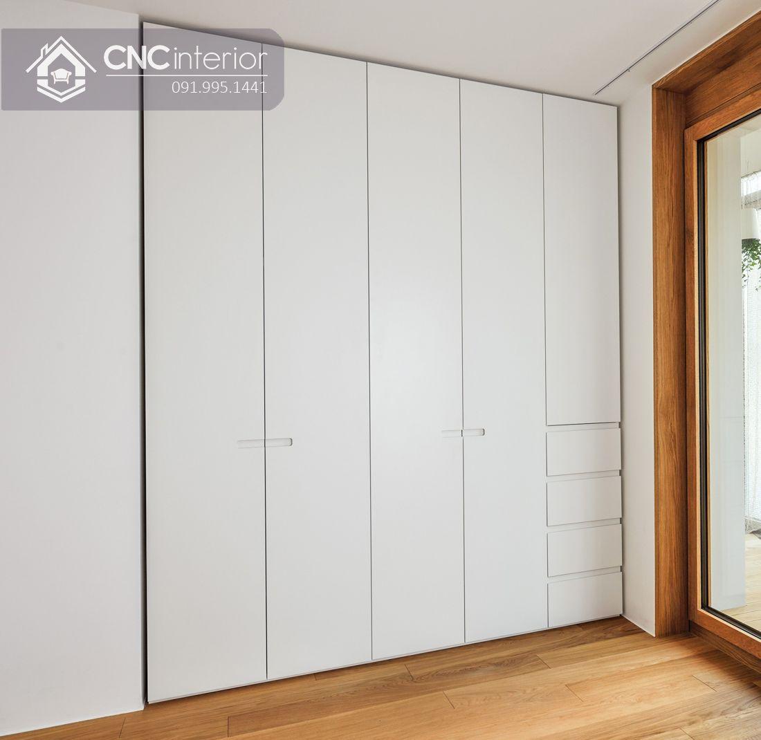 Tủ âm tường bằng gỗ màu trắng tinh tế CNC 04 1