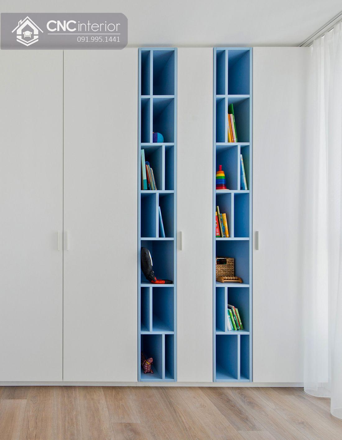 tủ âm tường phòng ngủ kết hợp kệ sách CNC 12 1