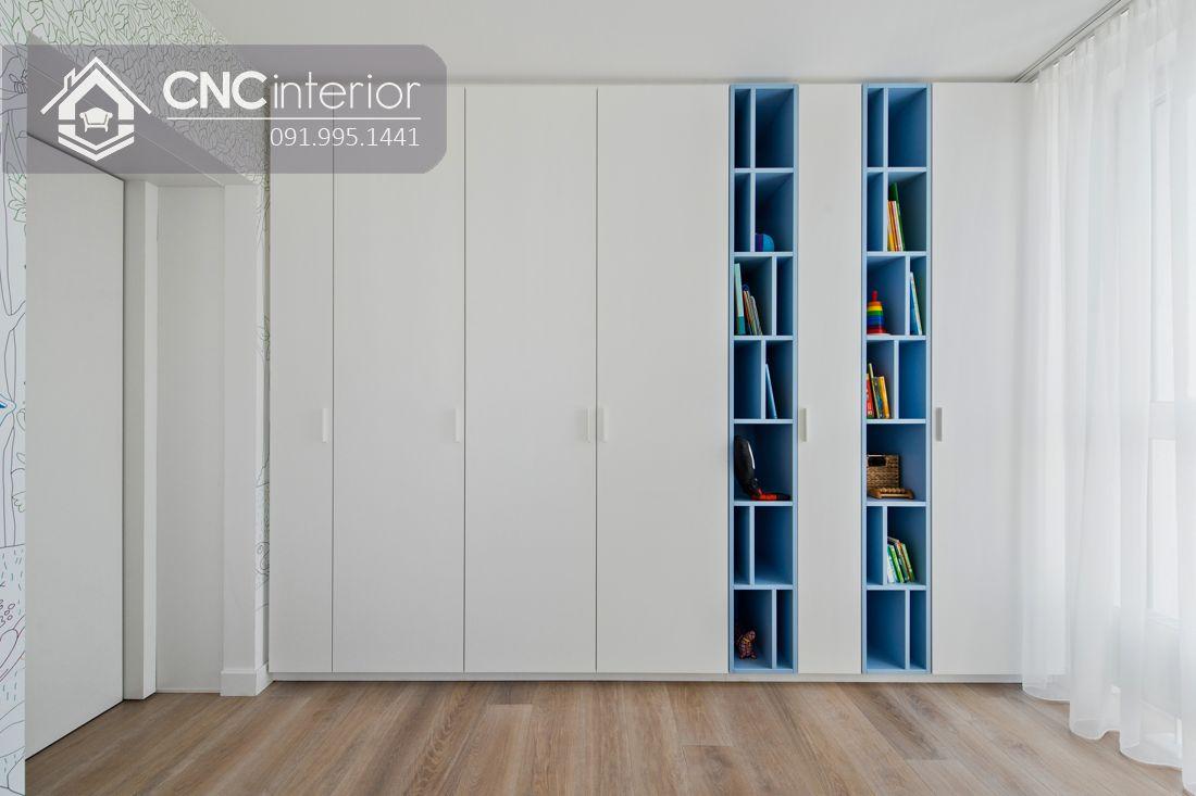 Tủ âm tường phòng ngủ kết hợp kệ sách CNC 12
