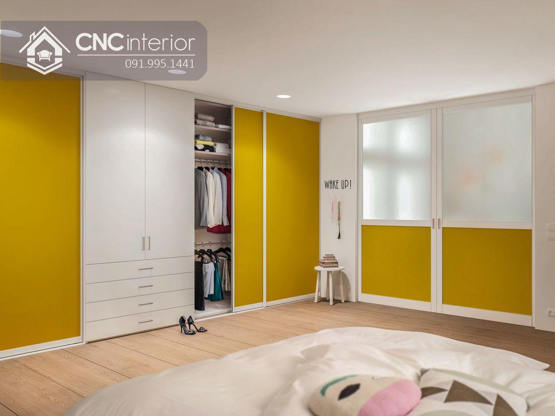 Tủ âm tường cánh lùa màu vàng CNC 15 1