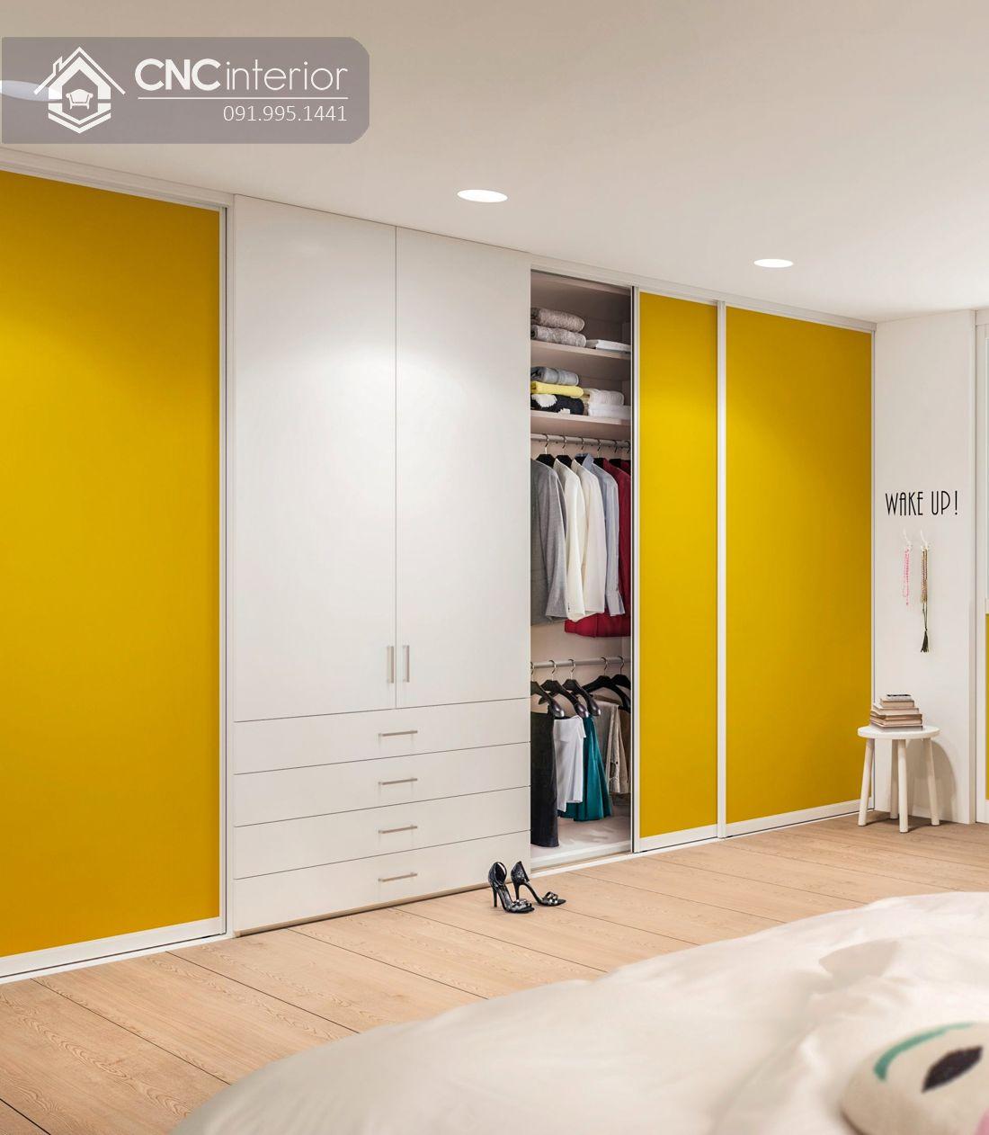 Tủ âm tường cánh lùa màu vàng CNC 15 2