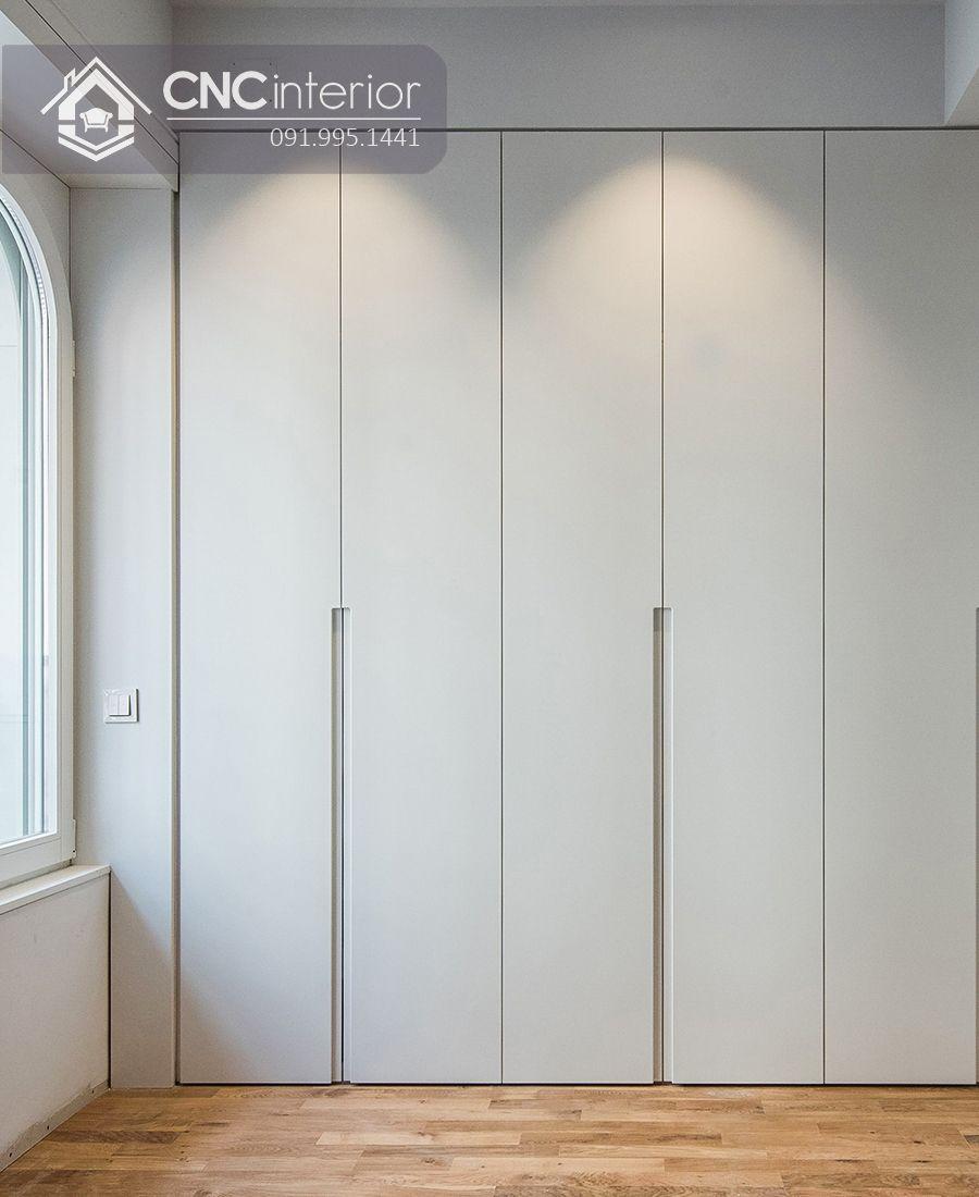Tủ âm tường gỗ công nghiệp màu trắng CNC 02