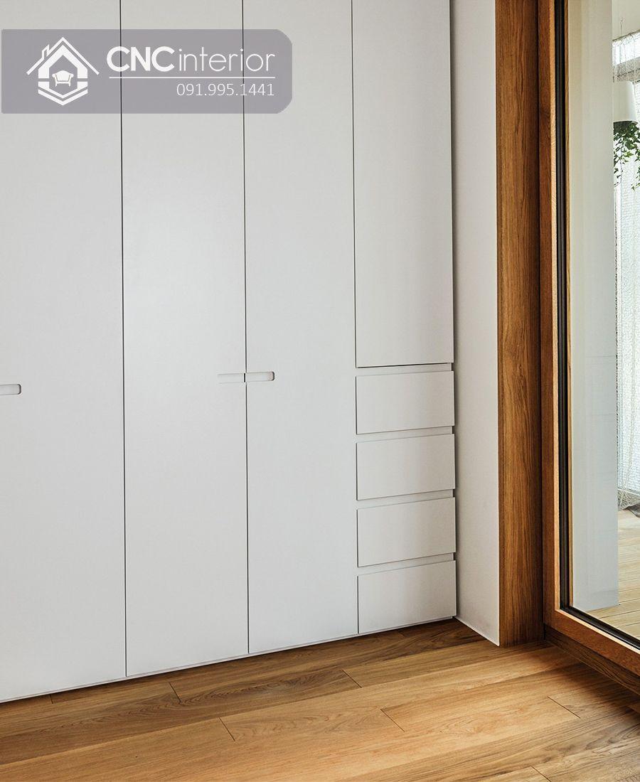 Tủ âm tường bằng gỗ màu trắng tinh tế CNC 04 2
