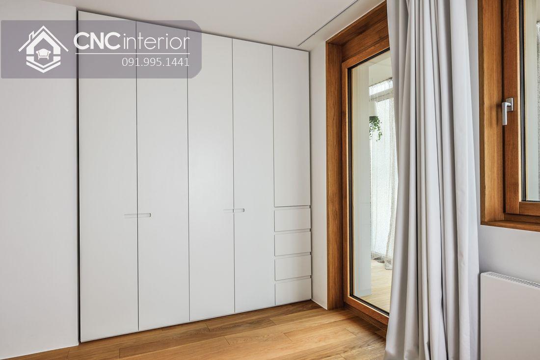 Tủ âm tường bằng gỗ màu trắng tinh tế CNC 04