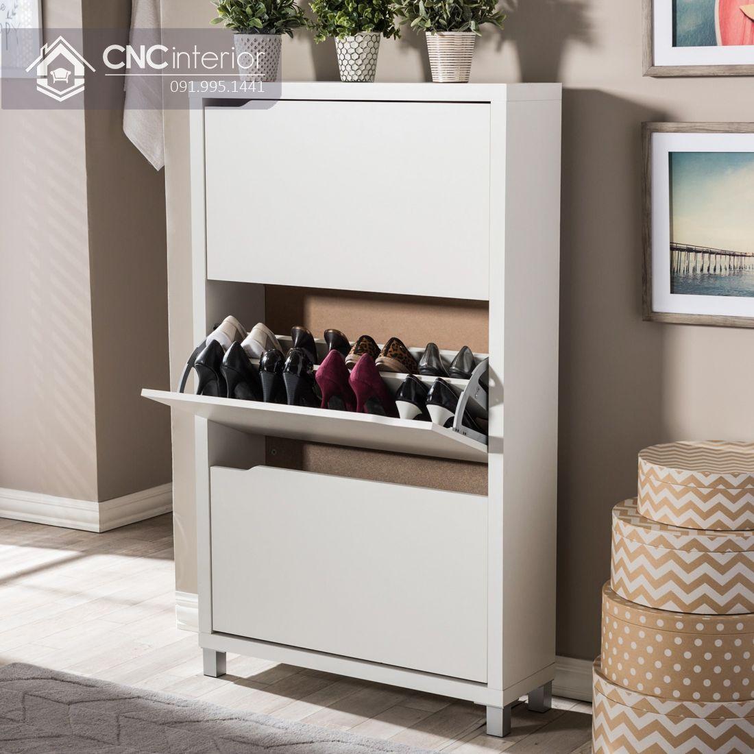 Tủ giày gỗ MDF dạng đứng gọn gàng CNC 06 1