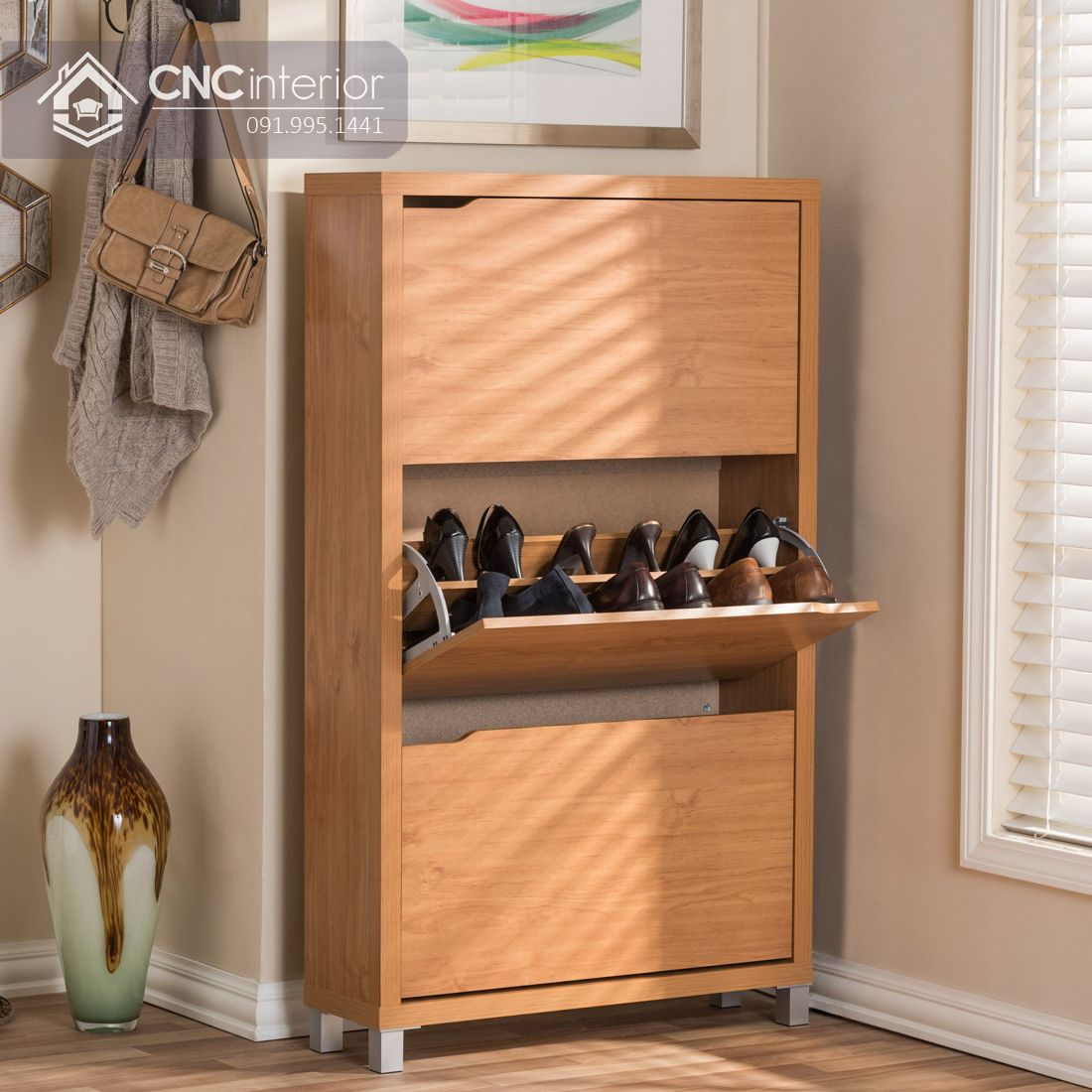 Tủ giày gỗ MDF dạng đứng gọn gàng CNC 06 3