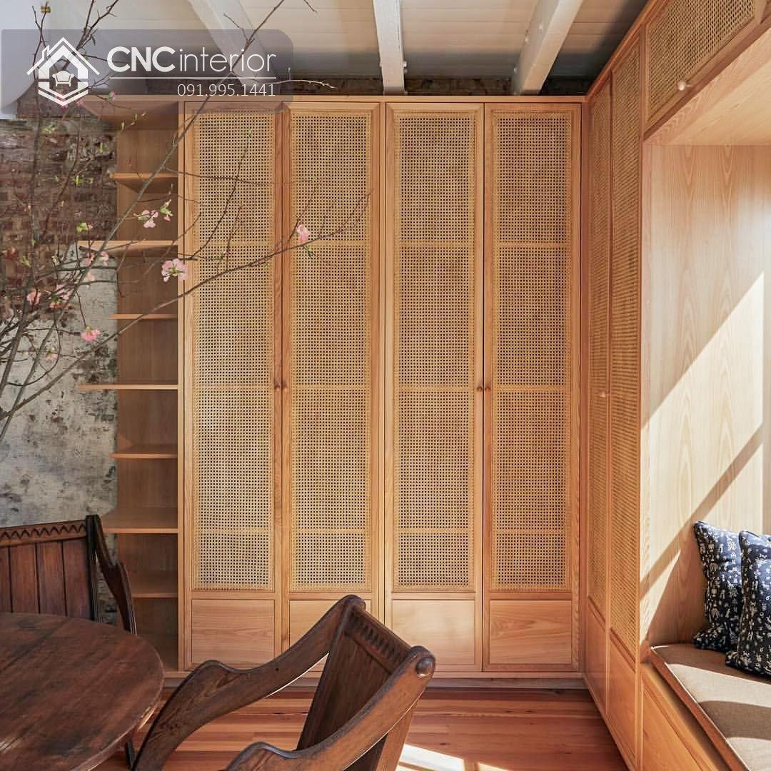 Tủ quần áo kết hợp mây đan tinh tế CNC 14