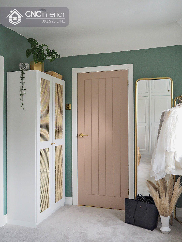 Tủ quần áo 2 buồng nhỏ gọn màu trắng đẹp CNC 15