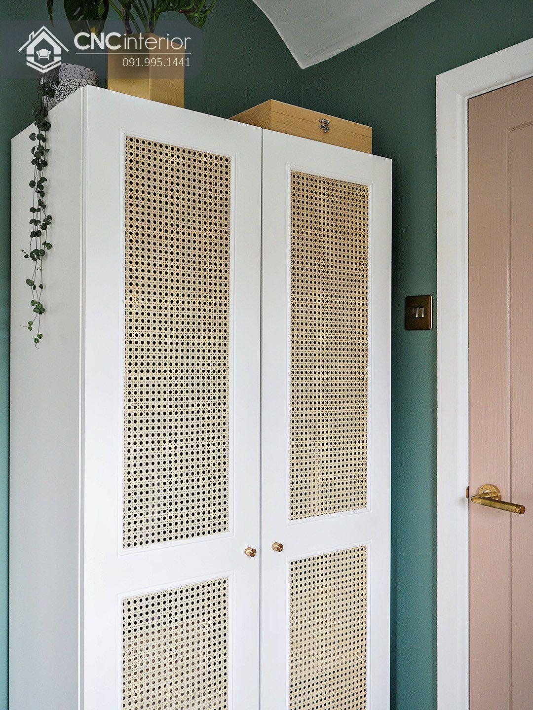 Tủ quần áo 2 buồng nhỏ gọn màu trắng đẹp CNC 15 3