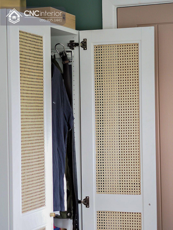 Tủ quần áo 2 buồng nhỏ gọn màu trắng đẹp CNC 15 2