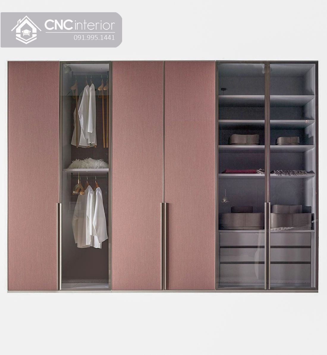 Tủ quần áo cánh kính hiện đại trang nhã CNC 17