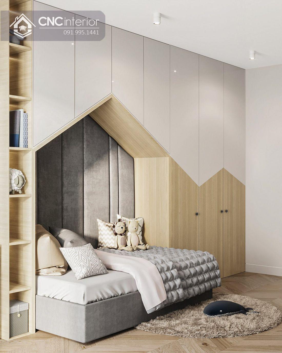 Tủ quần áo liền giường bằng gỗ công nghiệp CNC 18 1