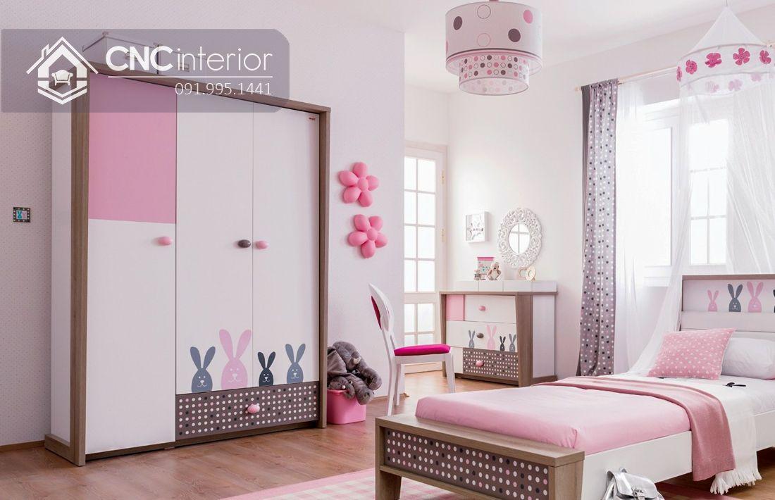 Tủ quần áo 3 cánh màu hồng dễ thương CNC 20