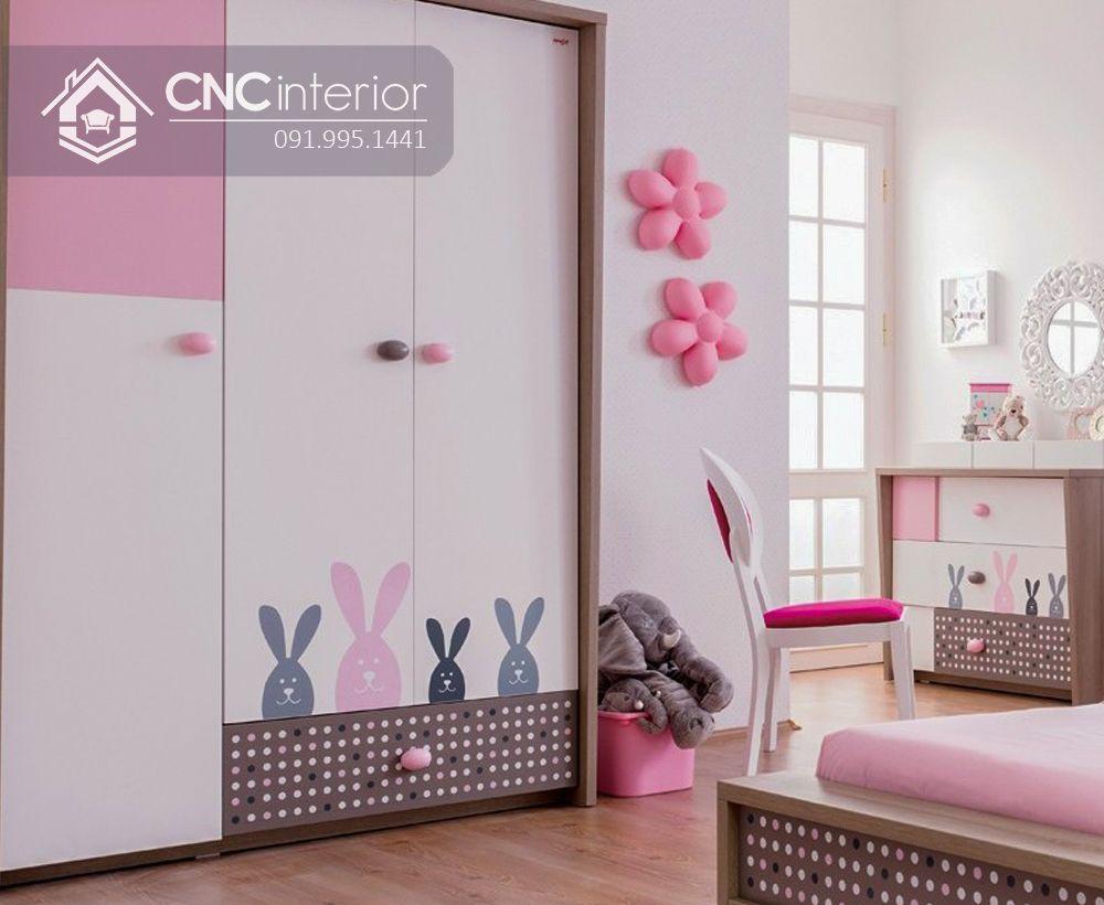 Tủ quần áo 3 cánh màu hồng dễ thương CNC 20 1