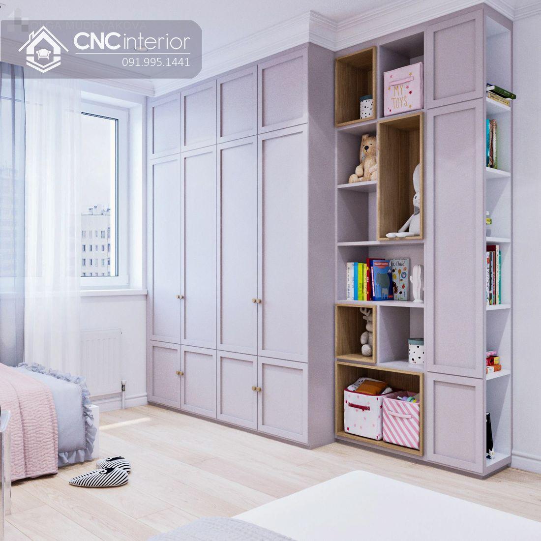 Tủ quần áo tân cổ điển màu hồng đẹp CNC 21