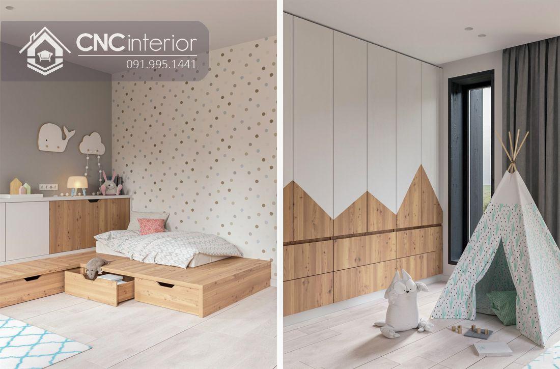 Tủ quần áo kịch trần bằng gỗ công nghiệp cao cấp CNC 24 1